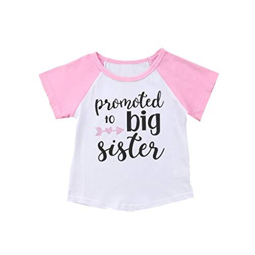 Kinder Jungen Mädchen Kurzarm Brief Drucken Tops T-Shirt Kleidung (Rosa,120) ()