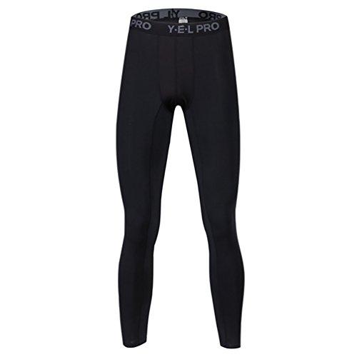 YiJee Herren Elastisch Kompression Tights Schlank Jogging Hose Schnelltrocknend Schwarz 2XL (Kompressionskleidung Körper)