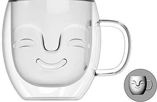 Yeppers Tasse à Double paroi 390 ML No.1 avec Visage/Tasses Thermiques/Tasses en Verre/Tasses à thé/Tasses à café à Effet Flottant by Feelino