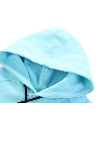 Yacun féminin lettre longue manches à capuche Sweatershirt blue