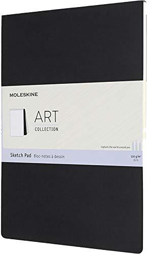 Moleskine Skizzenblock, Skizzenbuch (Papier für Bleistifte, Zeichenkohle, Stifte, Füllfederhalter und Marker, Softcover, A4 21 x 29.7 cm, 48 Seiten) schwarz