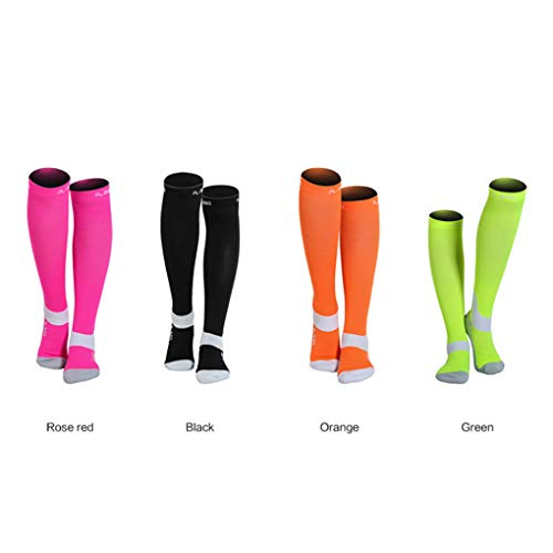 4 Pairs/lot Men/Women Professional Compression Running Stockings High-quality Marathon Sports Socks Quick-Dry Bicycle Socks (L)