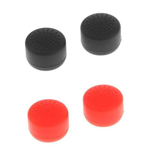 Sharplace 2Paar Silikon Hüte Kappen Schutzkappen Tasten Joystick Controller für Sony PlayStation 4PS4Schwarz + Rot