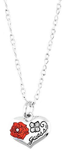 Guess ubn11007 - collana da donna in metallo argento/rosso a forma di cuore