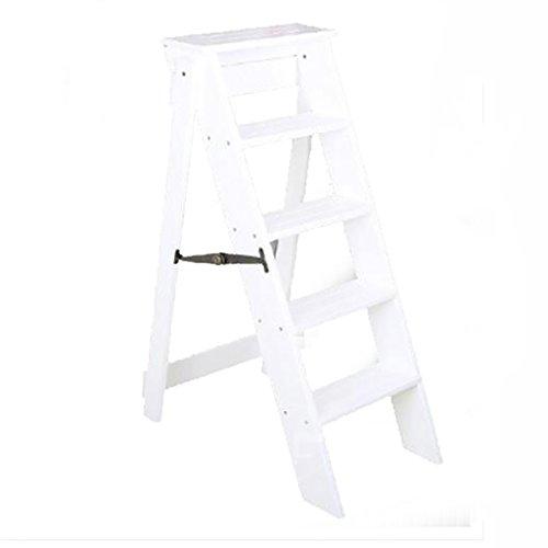 Stufenhocker, Massivholz europäischen Stil einfach, Mehrzweck-Dual-Use-Falten 5 Leiter Leiter nach...