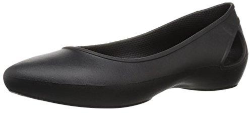 crocs Women's Laura W Black Ballet Flats-W8(204014)