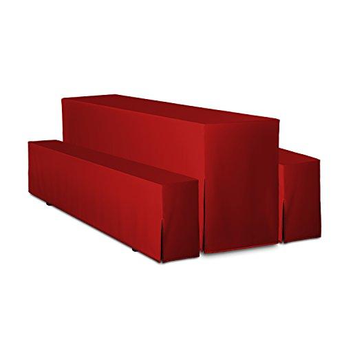 TexDeko Bierbankhussen Premium 3-teiliges Set - Rot Tischbreite 50cm