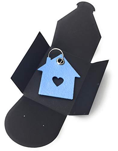 Schlüsselanhänger aus Filz - Haus mit Herz/Liebesnest - hell-blau/eis-blau - als besonderes Geschenk mit Öse und Schlüsselring - Made-in-Germany -