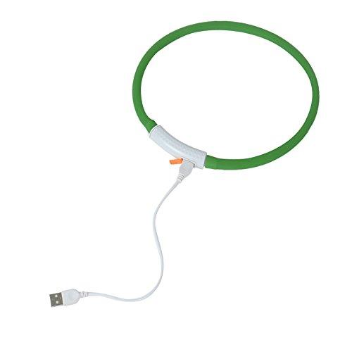 2-TECH LED Visio Leuchthalsband in GRÜN Deluxe für Hunde und Katzen universell kürzbar, Halsumfang bis 55 cm - 3