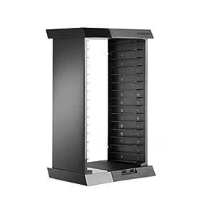 snakebyte PS4 CHARGE:TOWER – Games Tower zur Aufbewahrung von Spielen & Blu rays – inkl. 2-fach USB Port zum Aufladen der Controller – schwarz – für PlayStation 4