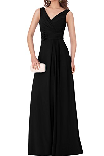 TOSKANA BRAUT Damen einfach bodenlang V-Ausschnitt aermellos Chiffon Falte Applikation Perlen Abendkleid Partykleid Promkleid Schwarz