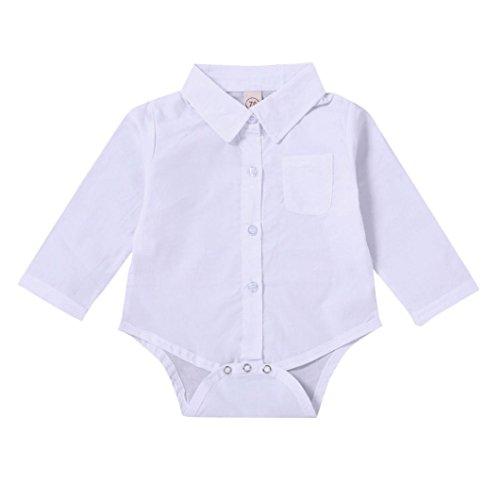 Byste body bambino neonato maniche lunghe tinta unita pagliaccetto camicia per bambini e ragazzi maglietta la camicetta t-shirt tops (bianca, 6 mesi)