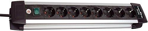 5er Vorteilspack Brennenstuhl Premium-Alu-Line Steckdosenleiste 8-fach schwarz mit Schalter, 1391000018