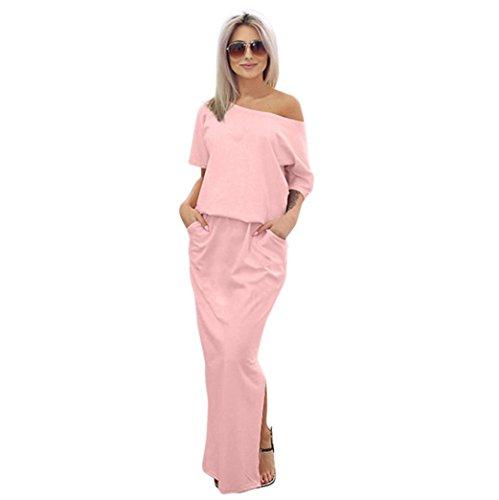 Bovake Frauen Sommer lang Maxi BOHO Abendkleid mit Tasche (Tasche Flapper)