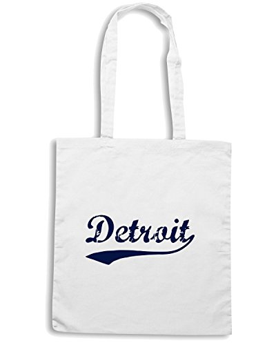 T-Shirtshock - Borsa Shopping TSTEM0022 detroit script distressed logo Bianco