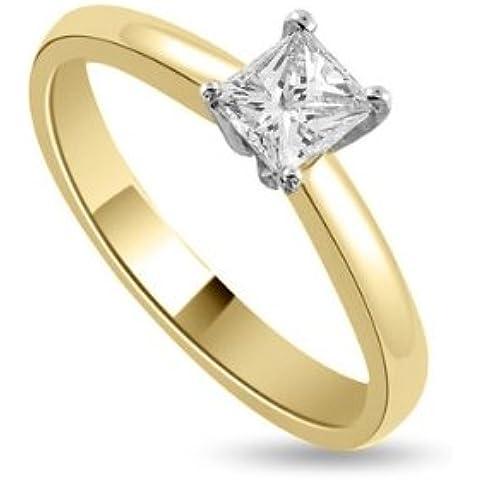 0.25ct H/SI1 Solitario Diamante Fidanzamento Anello da Donna con Princess diamante in 18kt Oro Bianco (0.25 Ct Anello Di Fidanzamento Anello Di Fidanzamento)