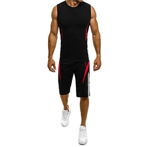 Bellelove Herren Gym Outfit Set ärmellose Slim Fit Weste Tank Tops elastische Taille Taschen Shorts Training Stringers Bodybuilding Fitness Sport Kleidung Set -