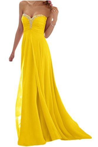 Promgirl House Damen Glamour Traegerlos A-Linie Chiffon Abendkleider Cocktail Ballkleider Lang-36 Gelb (Abendkleid A-linie Chiffon)