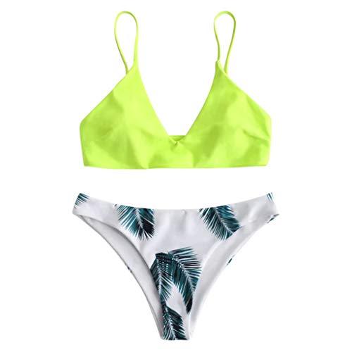 Produp Damen Badeanzug Set Öffnen Sie Sich zurück Pure Farbe Blatt Drucken Frisch Geteilter Badeanzug (Baby-bettwäsche-blatt-satz)