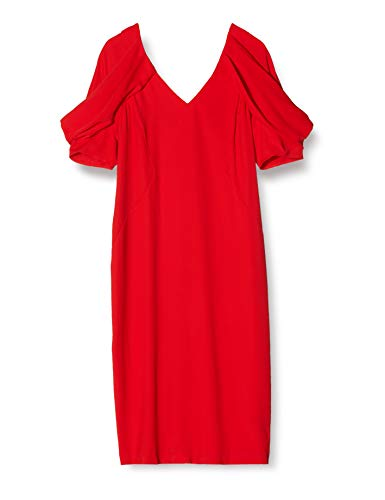TRUTH & FABLE Vestito Donna con Manica Voluminosa, Rosso (Red), X-Small