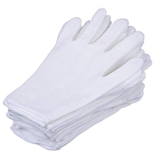 6 Paar weiße Handschuhe, weiche Baumwolle, 22,9 cm, große Größe, Arbeitshandschuhe für Münzschmuck, Silberinspektion, formelles Marschband, Parad Kosmetik, feuchtigkeitsspendende Handspa-Handschuhe. -