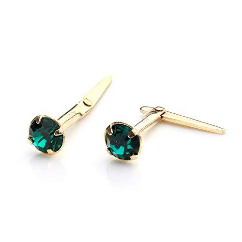 Orecchini punto luce in oro giallo 9kt e pietre verde smeraldo di 3mm - retro Andralok