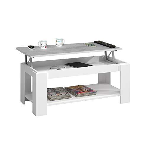 Habitdesign 0L1639A - Mesa de Centro con revistero Incorporado, mesita elevable de Comedor Modelo Ambit, Medidas: 102 x 50 x 43/54 cm de Alto (Blanco Artik - Cemento)