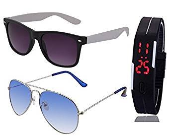 SILVER BLUE AVIATOR SUN GLASSES AND BLACK WHITE WAYFARER GOGGLES (GOGALS) WITH TPU BAND RED LED DIGITAL BLACK DIAL UNISEX WATCH  available at amazon for Rs.399