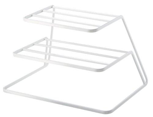 YAMAZAKI Dish Storage Organizer Vajilla, acero, blanco