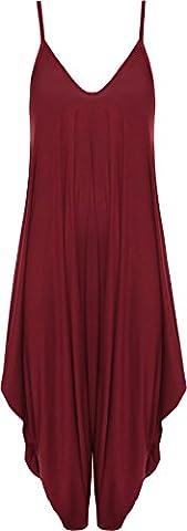 WearAll - Femmes Lagenlook Lacets Bouffant Harem Combinaison Robe Haut Salopette - Vin - 44-46