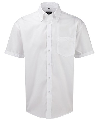 Russell Collection Mens Ultimate Non-Iron Short Sleeve Shirt Blanc
