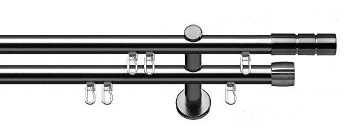 gardinenstangen aus edelstahl tilldekor Innenlauf Gardinenstange Alicante, 2-Lauf, Edelstahl Optik, Ø 20 mm, 200 cm, inkl. Trägern und Gleitern