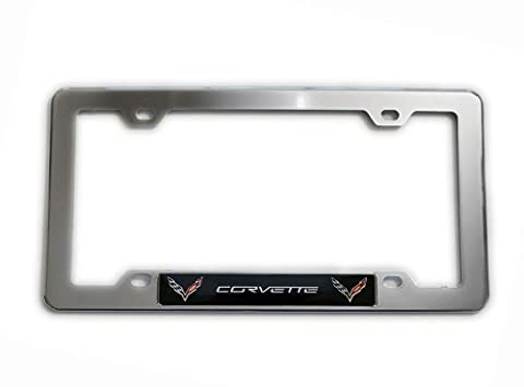 Highly Polished CHROME Plated Silver LICENSE FRAME with BLACK CORVETTE DOUBLE WINGS Aluminum Emblem Badge Nameplate Logo Decal Rare for Chevrolet Chevy Corvette General Motors GM C1 C2 C3 C4 C5 C6 C7 ZR1 ZL1 Z06 FRC LT1 LS3 6.2L Liter LS6 5.7L Z06 LS1 L83 350HP 425HP 427HP 430HP 454HP V8 Coupe Convertible Stingray Dress Crate