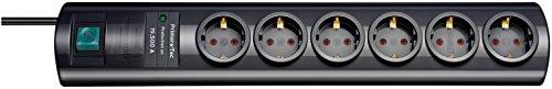 Brennenstuhl Primera-Tec, Steckdosenleiste 6-fach mit Überspannungsschutz 19.500A (2m Kabel und Schalter - hochwertiges, edles Design) Farbe: schwarz