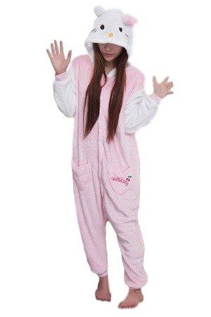Hello Kitty Schlafanzug Kostüm Erwachsene Unisex Pyjamas Tier Cosplay Halloween Fasching Karneval und Plüsch Tierkostüme Anzug Flanell (Flanell Kostüm Halloween)