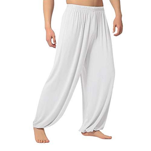 VRTUR Herren Yogahose, auch für Pilates, Fitness, Training, Freizeit, Lounge, Schlafen, Kampfsport, Tanzen,S-XXXL(XX-Large(Taille: 82-112 cm),Weiß) -