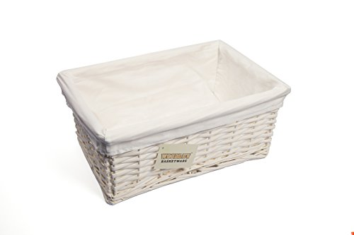 Woodluv - Cesta mediana de mimbre (36 x 25 x 15 cm), color blanco