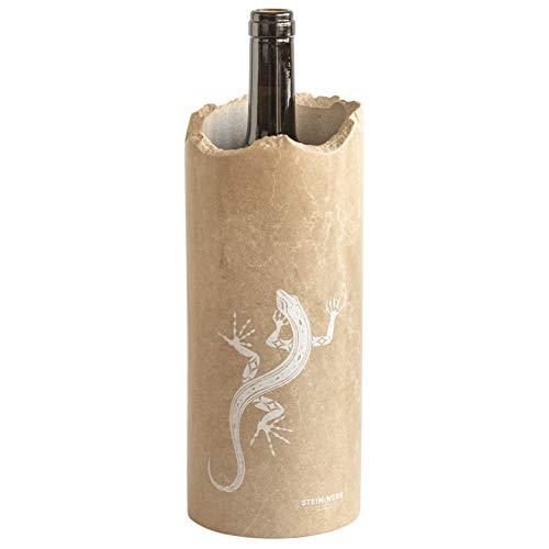 STEIN:WERK Weinkühler Flaschenkühler Gravur Smaragdeidechse Dolomit Kalkstein Stein Kühlmanschette | Kühler für Weinflaschen