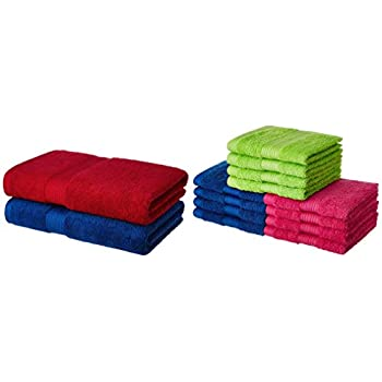 Amazon Brand - Solimo 100% Cotton 2 Piece Bath Towel Set, 500 GSM (Iris Blue and Spanish Red) and 100% Cotton 12 Piece Face Towel Set, 500 GSM (Multicolour) Combo