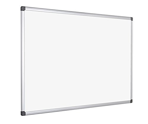 Bi-Office Magnetisches Whiteboard Maya, Trocken Abwischbar, Mit Alurahmen Und Stifteablage, Magnettafel, Memoboard, Lackierte Stahloberfläche, 6 Größen Wählbar, 120 x 90 cm