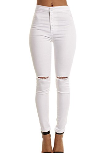 Damen Hohe Taille Dehnbar Skinny Jeans Hose Riss Löcher weiße L