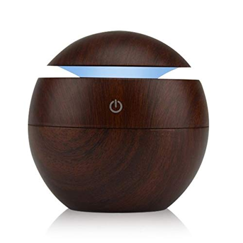 ShoppoStreet Mini Aroma Essential Oil Diffuser, Wood Grain Cool Mist Humidifier Portable Ultrasonic Humidifier with 6 Color Changing Lights