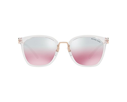 Michael Kors Damen LUGANO 31057E 53 Sonnenbrille, Clear Crystal/Greypinkflash,