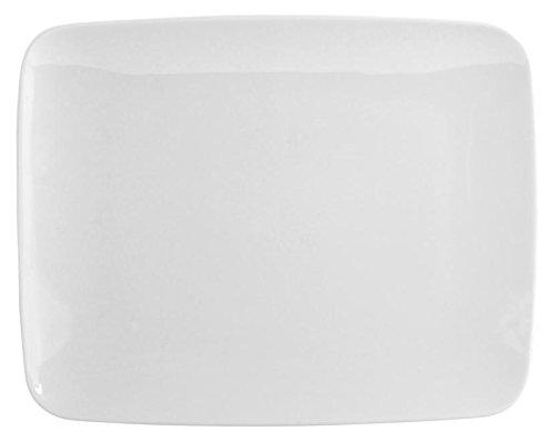 H&H Kyoto Assiette, Rectangulaire, Porcelaine, Blanc, 29 x 23 x 3 cm