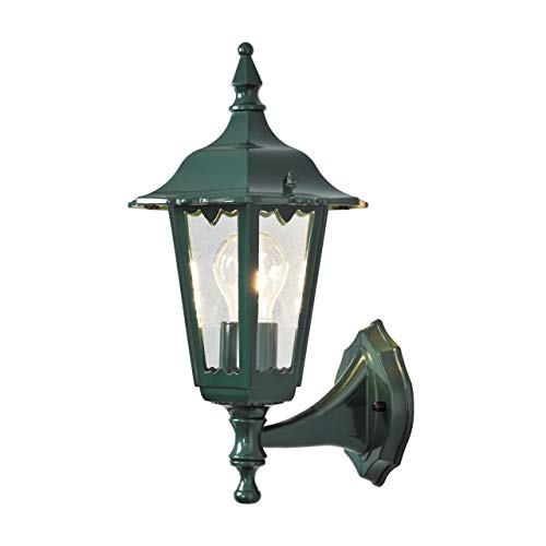 Konstsmide Firenze 7232-600 Wandleuchte / B: 19cm T: 22cm H: 36cm / 1x60W / IP43 / lackiertes Aluminium / grün
