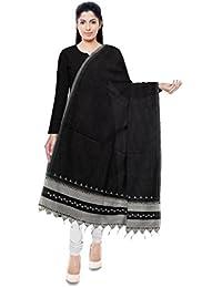 Miri - Woven Thoughts By Vankar Murji Hamir Kutchi Handloom Cotton Dupatta (Black And Grey)