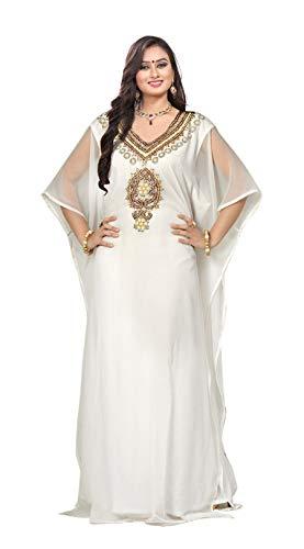 Georgette Slip (The Fabric Station: Dubai Middle East Bollywood Style Handmade Designer Kaftan Caftan Farasha Jalabiya Dress Abaya Casual Dress for Party Event, Evening wear, Beach - Design NO 20 | White)