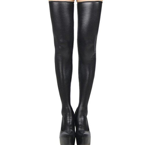 (♪ZEZKT♪Lange Hoch Socken Leder Lace Bow Damen Strümpfe Stocking Optik Reizwäsche Halterlose Overknee Bequeme Oberschenkel (A))