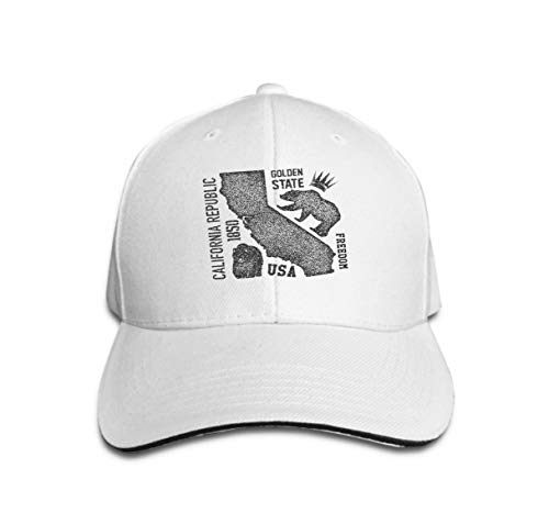 Xunulyn Classic Cotton Dad Hat Adjustable Plain Cap Custom Denim Baseball Cap for Adult California Grizzly Bear Design Print White