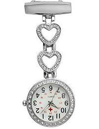 Ladies Heart Steel Nurse Doctor Tunic Brooch Quartz FOB Pocket Medical Watch (Silver)